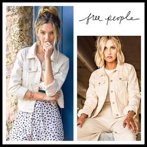 FREE PEOPLE JEAN JACKET IVORY DENIM BOMBER A3C